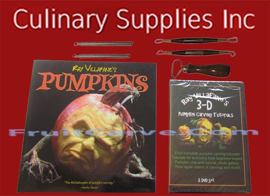 Ray Villafane DVD & Photo Book Set, 5 Piece Pumpkin Carve Tools Ray Villafanes DVD, Pumpkin Carving Tools, Book : Culinary Supplies Inc-USA specializing in fruit carving knives, Garde Manger Tools, Books, DVD's and foods! Find us at CulinarySupplies.Org and FruitCarve.Com
