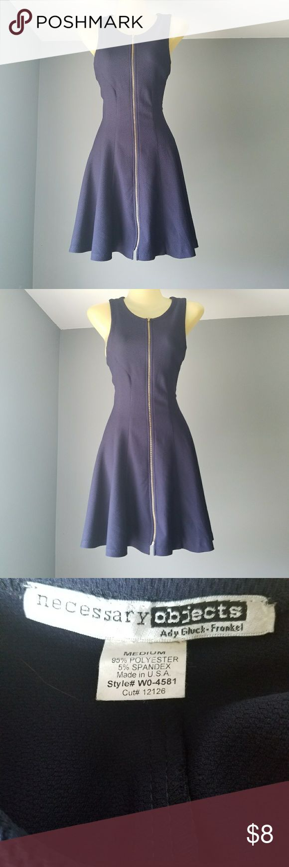 Necessary Objects Blue zip up dress Size medium. 95% polyester. 5% spandex Necessary Objects Dresses