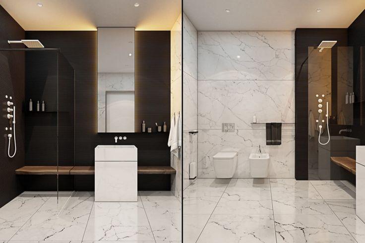 modernes Badezimmer in Schwarz und Weiß mit indirekter Beleuchtung