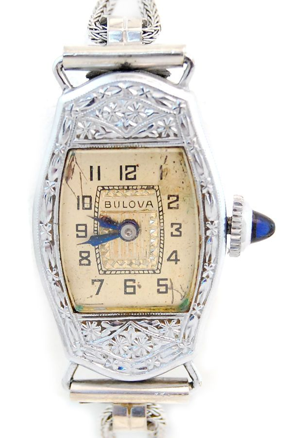 Vintage Art Deco Ladies Bulova Wrist Watch W Sapphire