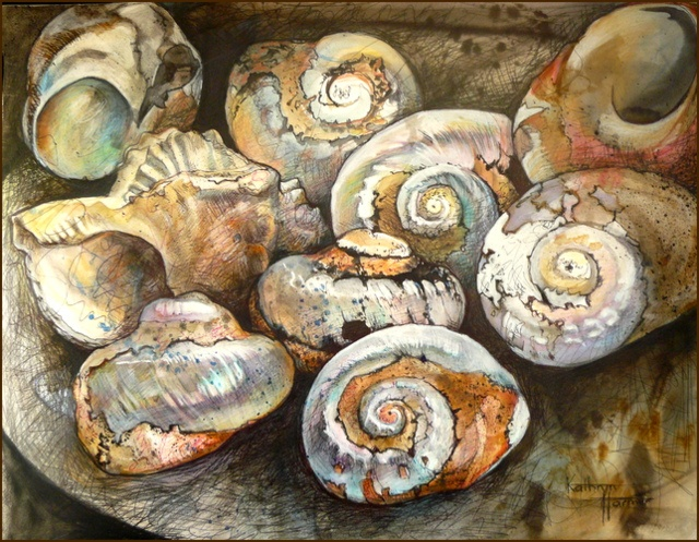 Artist: Kathryn Harmer Fox Title: Shells, Used and Discarded Medium: Mixed media on paper.Ink, graphite, coloured pencil, charcoal on 300gsm paper.