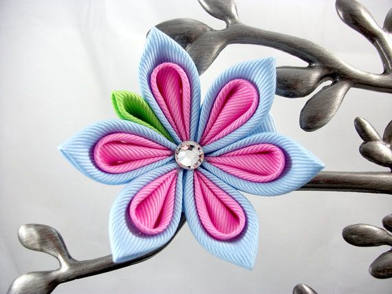 Starlet Flower Kanzashi Hair Clip  Large by SoSaucy on Etsy