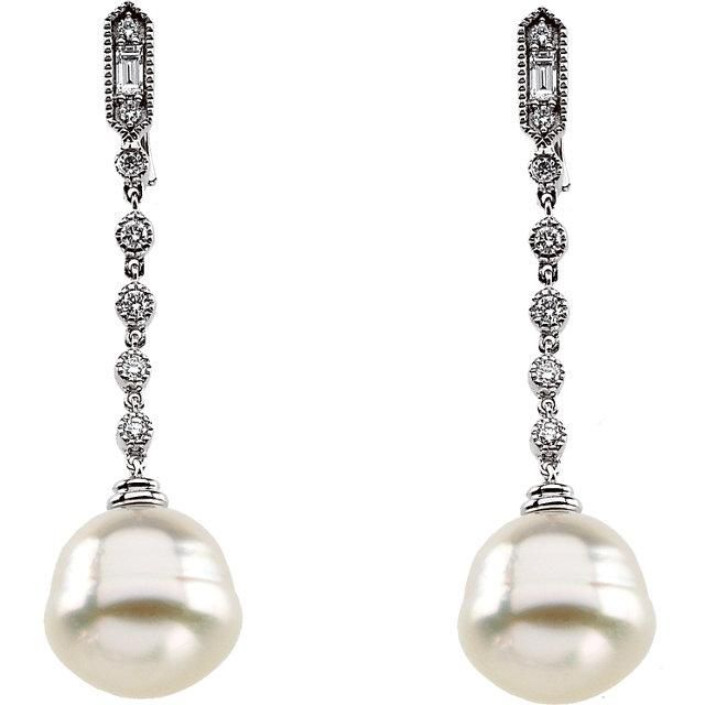 14k White Gold Cultured Pearl & Diamond Earrings