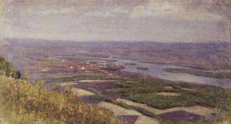 Вид на Красноярск с сопки.  1890-е