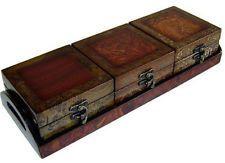 Wood Rectangular Decorative Jewelry Box Tray Treasure Chest Brown Tone Finish