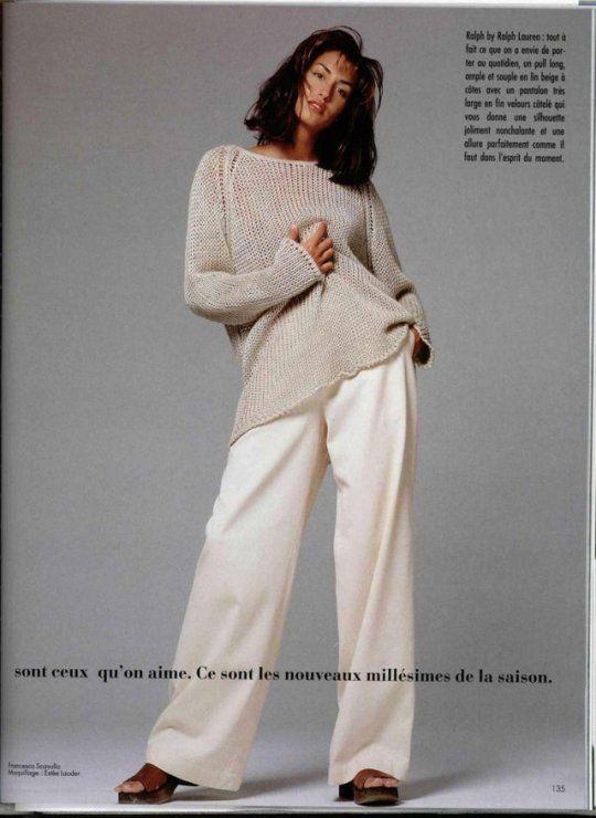 Yasmeen Ghauri wearing Ralph Lauren, Photography by Francesco Scavullo, May 1994