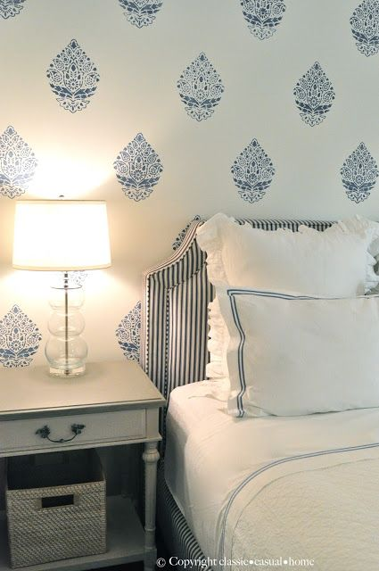 blue and white wallpaper, bedroom inspiration, wallpapered bedroom