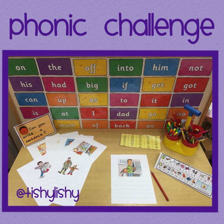 Phonic table challenge. Write sentences for each picture.