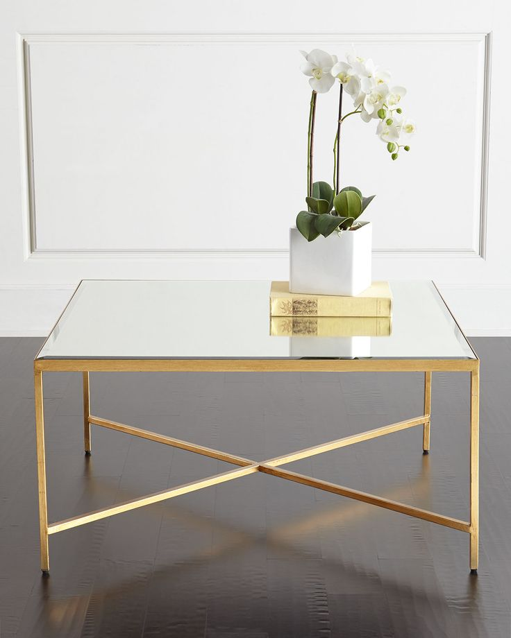 Low Square Mirrored Coffee Table: Larissa Mirrored Coffee Table, Gold / Mirror