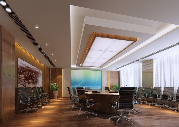 Inspiring Meeting Room Design : Inspiring Meeting Room Design With White  Wooden Wall Desk Black Chair