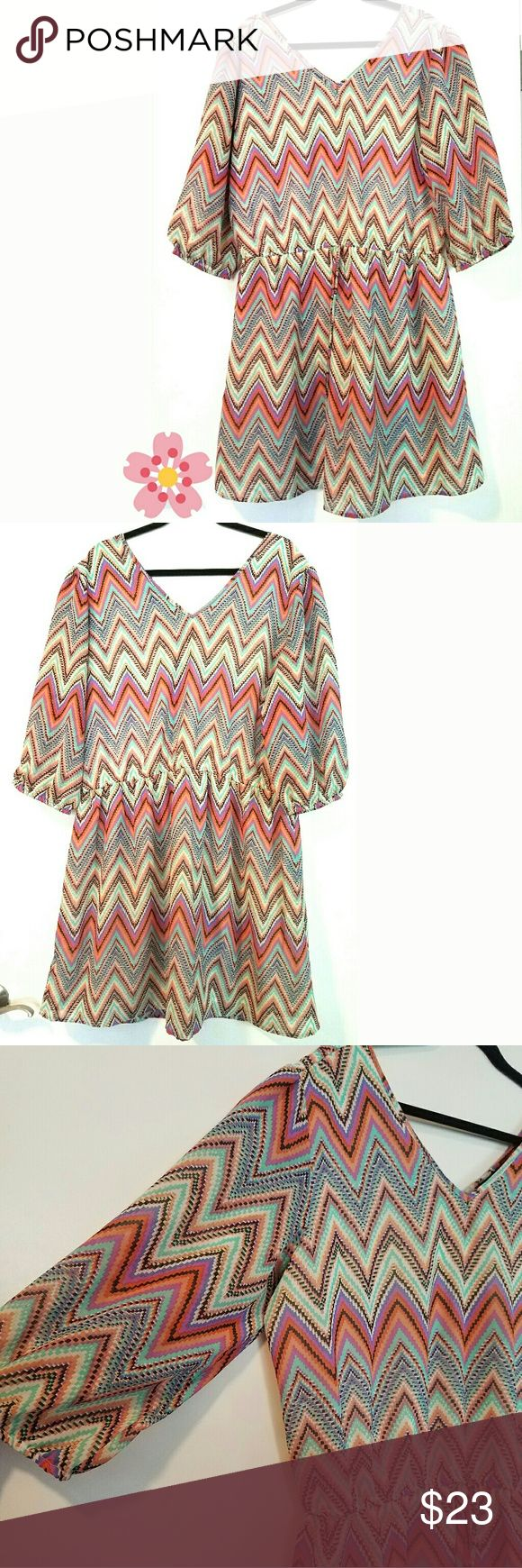 """Speed Control 2X Chevron Print Dress This Speed Control 2X Chevron Print Dress is in great used condition. Lined. 100% polyester. No stretch. Bust measures 24"""" across laying flat, measured from pit to pit, so 48"""" around. 39.5"""" long. ::: Bundle and save! ::: No trades. Speed Control Dresses"""