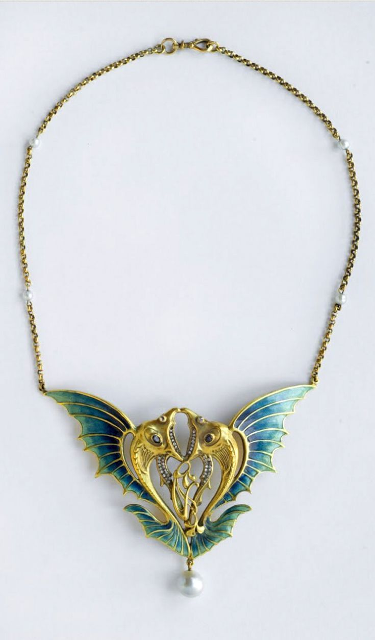 necklace designer unknown french gold enamel
