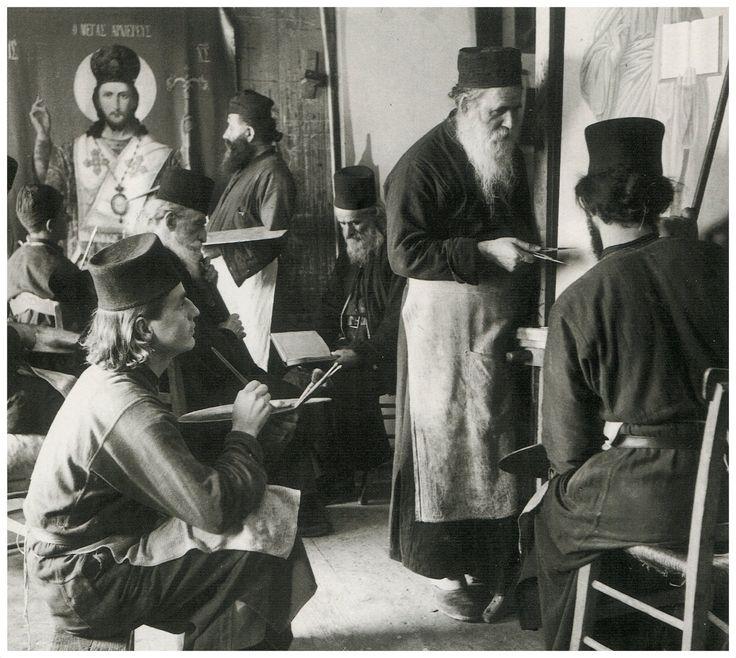 Αγιογραφία,στο Αγιο Όρος Κατουνάκι 1950 φωτ.Σπύρος Μελετζής.