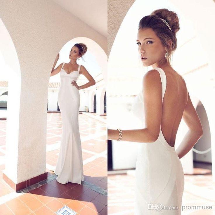 New Hot Sexy Backless Satin Mermaid Beach Wedding Dress Custom Size 6 8 10 12 14