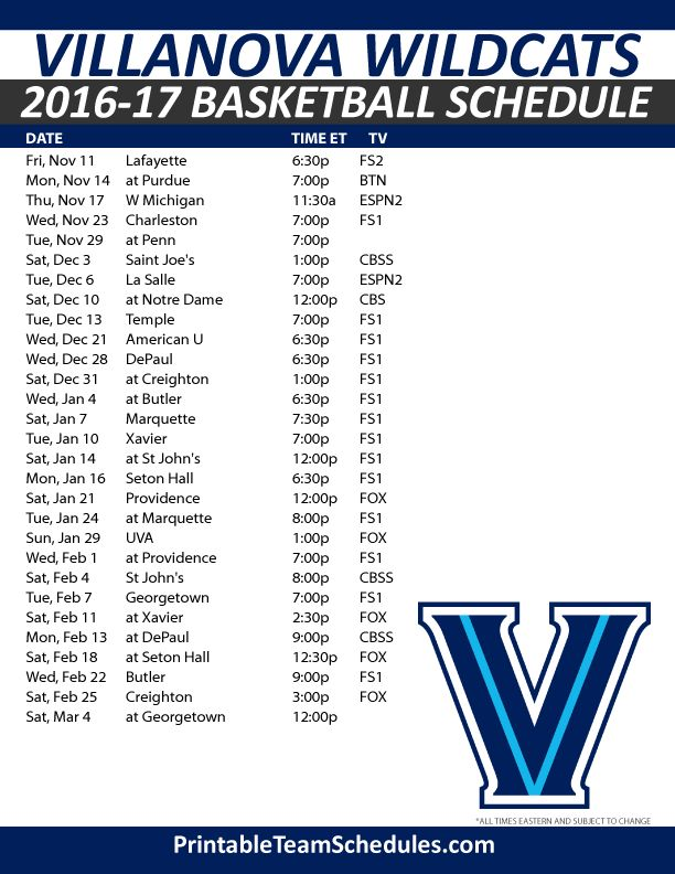 Villanova Wildcats Basketball Schedule 2016-17. Print Here - http://printableteamschedules.com/NCAA/villanovawildcatsbasketball.php
