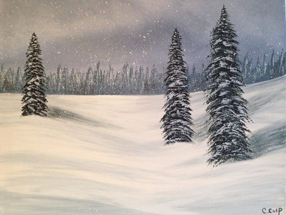 Snowy pine tree's winter paintingsnow by Creationsbyconni on Etsy