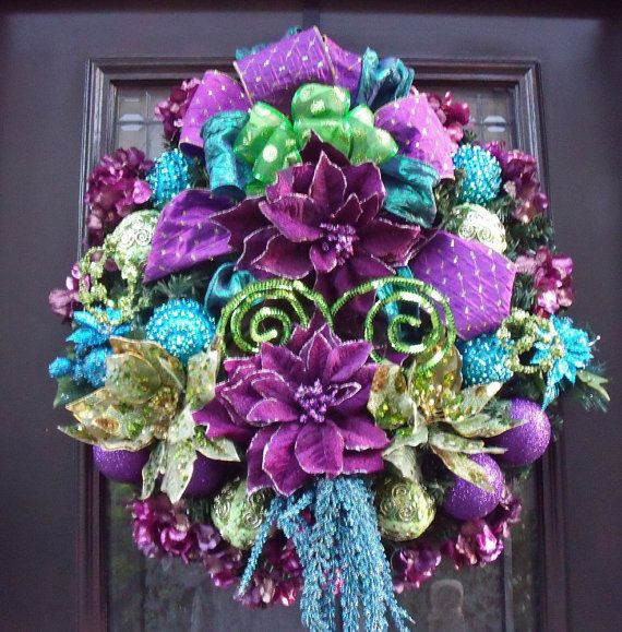 Christmas Decorations In Purple: Turquoise And Lime Christmas Decorations