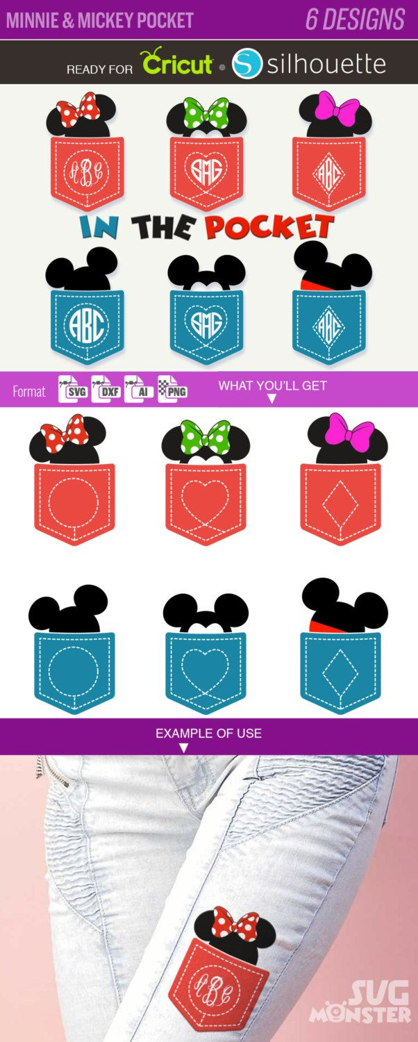 MINNIE & MICKEY MOUSE Pocket Svg Disney Cuttable letters for Electronic Vinyl Cutter cameo Cricut Design Space Disney svg Files Monogram 129 by SVGmonster on Etsy