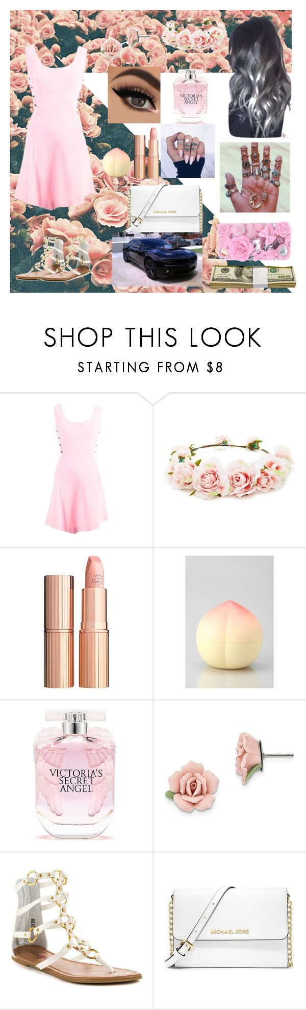 """babygirl."" by where-the-wild-thing-are ❤ liked on Polyvore featuring Versace, Forever 21, Charlotte Tilbury, TONYMOLY, Victoria's Secret, 1928, Penny Loves Kenny, MICHAEL Michael Kors and MoMo"