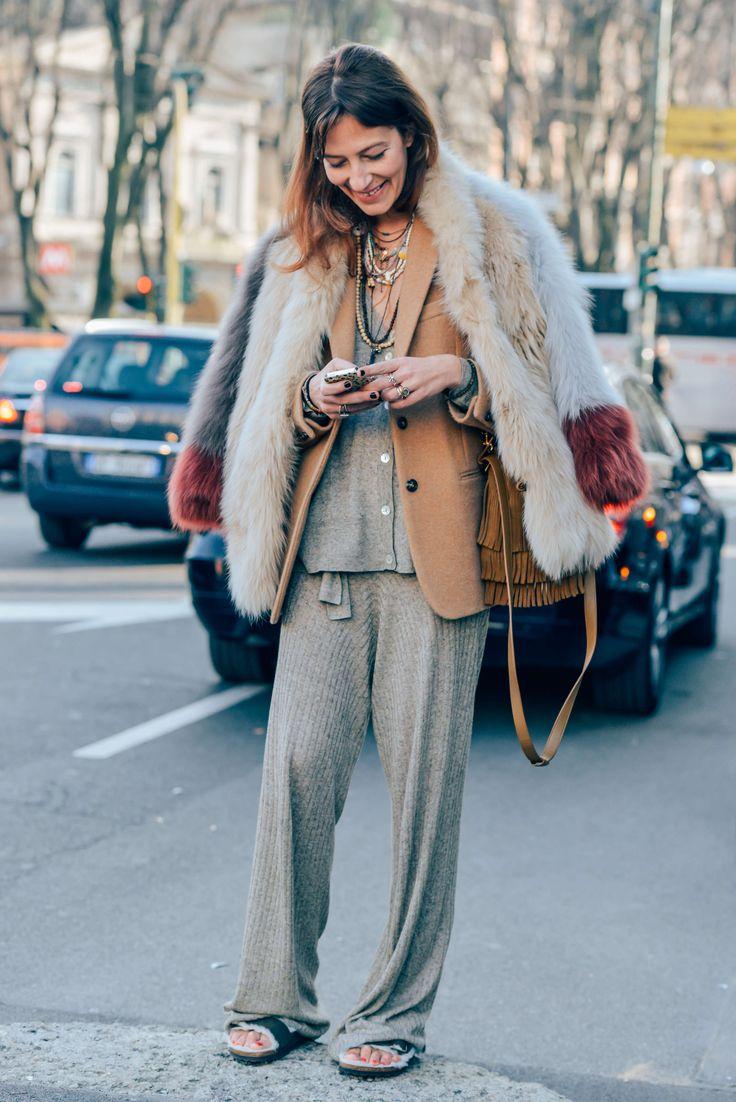 February 28, 2015  Tags Milan, Aurora Sansone, Fringe, Fur, Women, Neutrals, Necklaces, Knitwear, Sandals