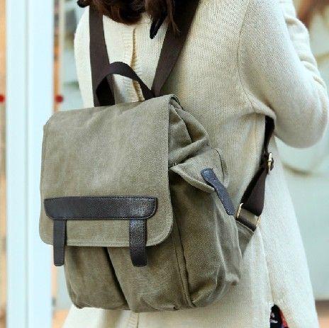 envío gratis cosecha de la mujer de la universidad de lona portátil mochilas mochilas mochilas escolares para las niñas...
