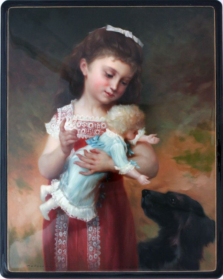 "Fedoskino. Russian Lacquer Art Titled ""Portrait of Girl with Doll and Dog"" Artist Golubenkov"