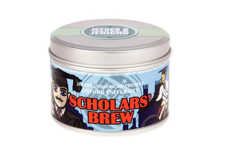 Oxford University Scholars' Brew  Oxford University tin of an elegant blend of aromatic ceylon Highland and strong Assam teas. Blended exclusively for the University of Oxford Shop by Oxford-based Jeeves & Jericho. Net weight: 65g.