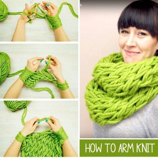 Arm Knitting Step By Step Tutorial : Arm knit scarf step by video tutorial videos