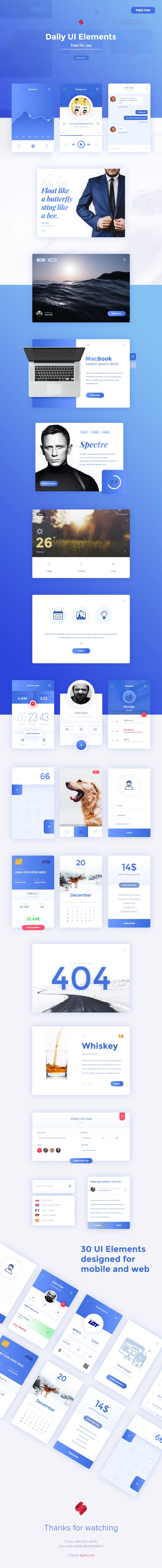 Winter has come... so we have new freebies for you. After 30 of challenge we have 30 UI elements waiting to download for free. These PSD templates are perfect for your future design, apps. Great stuff to start your new project.DOWNLOAD: https://symu.co/…