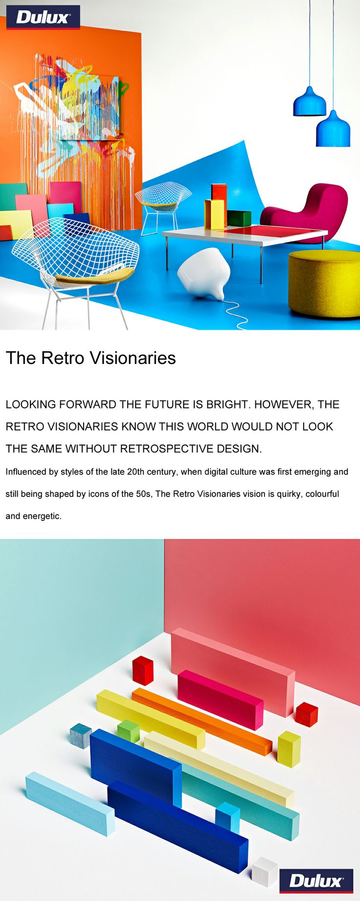 """The Retro Visionaries"" colour forecast from Dulux for 2014.   www.lahood.co.nz"