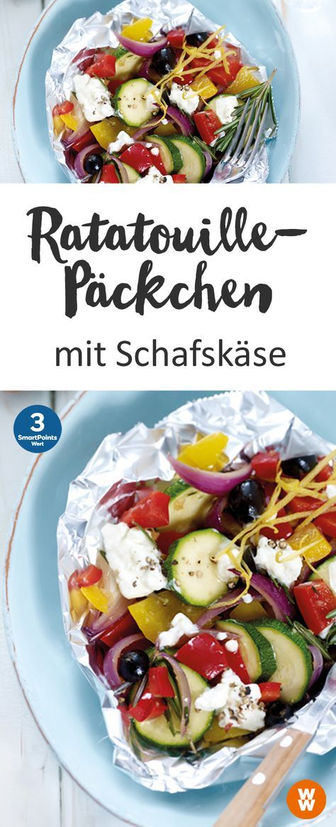 Ratatouille-Päckchen mit Schafskäse, Gemüse, Grill, Barbecue | Weight Watchers (Low Carb Deutsch)
