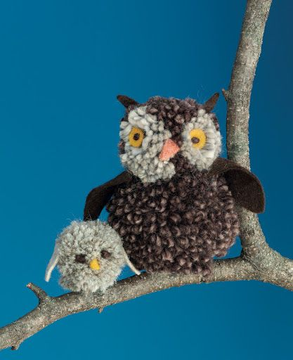 Pom-Pom Owls:  These owls are put together with a useful little tool called a pom-pom maker, available at crafts stores or online.  In the book, you will also find pom-pom bunnies and bumblebees.