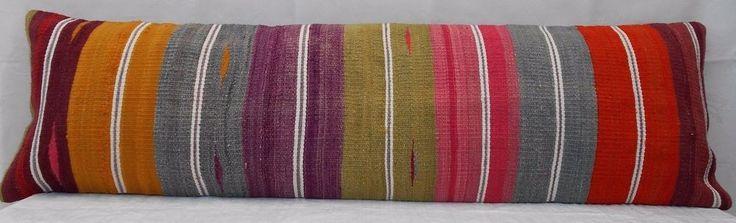 14 X 48  Multi Color Queen Boho Bedding Kilim Pillow Cover,King Long Bed Cushion #Handmade