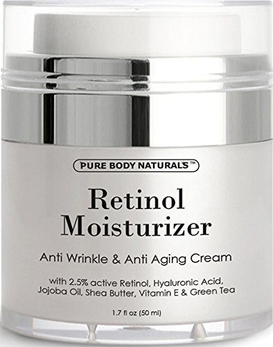 Retinol Cream Moisturizer for Face with active hyaluronic acid shea butter - Reduce Signs of Aging - night and day moisturizing facial cream 1.7 fl. oz by Pure Body Naturals