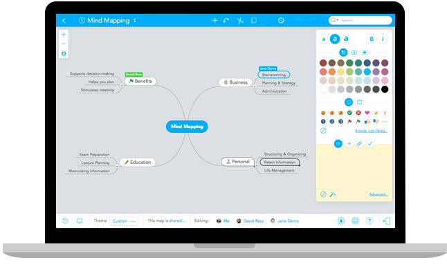 Mind Mapping Software - Create Mind Maps online.  Mindmeister is a great mind-mapping tool that can help students develop and organize project ideas. students can wok together to plan and analyze potential projects.