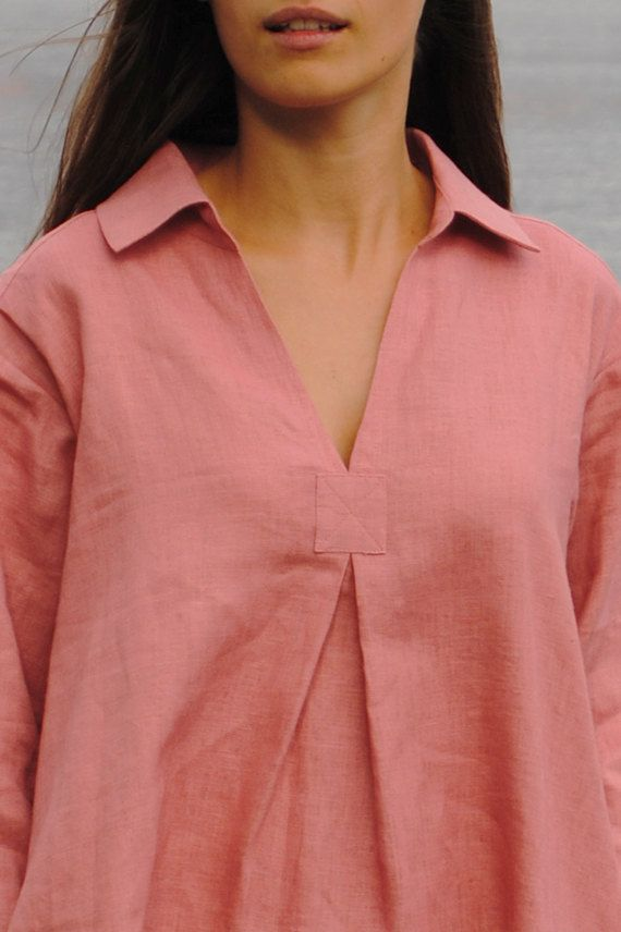 Pastel rose linen tunic, linen tunic with pockets, linen womens clothing, linen…