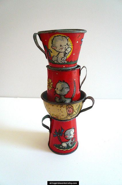Vintage Tin Toy Cups Set of Four by Vintage Reinvented on Flickr.