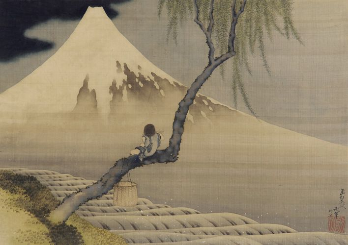 Katsushika Hokusai, Boy Looking At Mt. Fuji