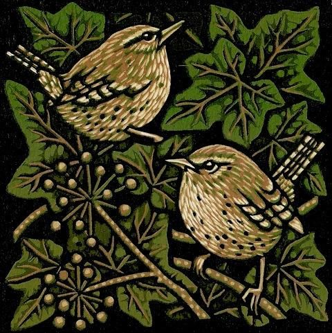 Two Birds In The Bush: Jill Kerr. linocut