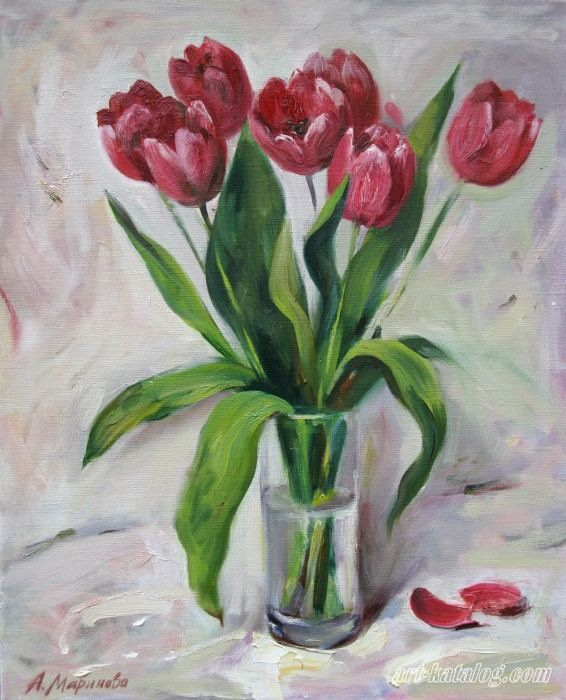 Схемы Для Вышивки Крестом Красные Тюльпаны