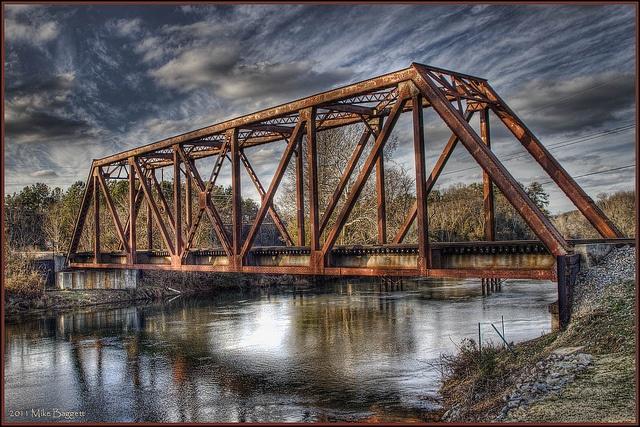 Railroad trestle across Augusta Canal. Augusta, Georgia. January 2011.