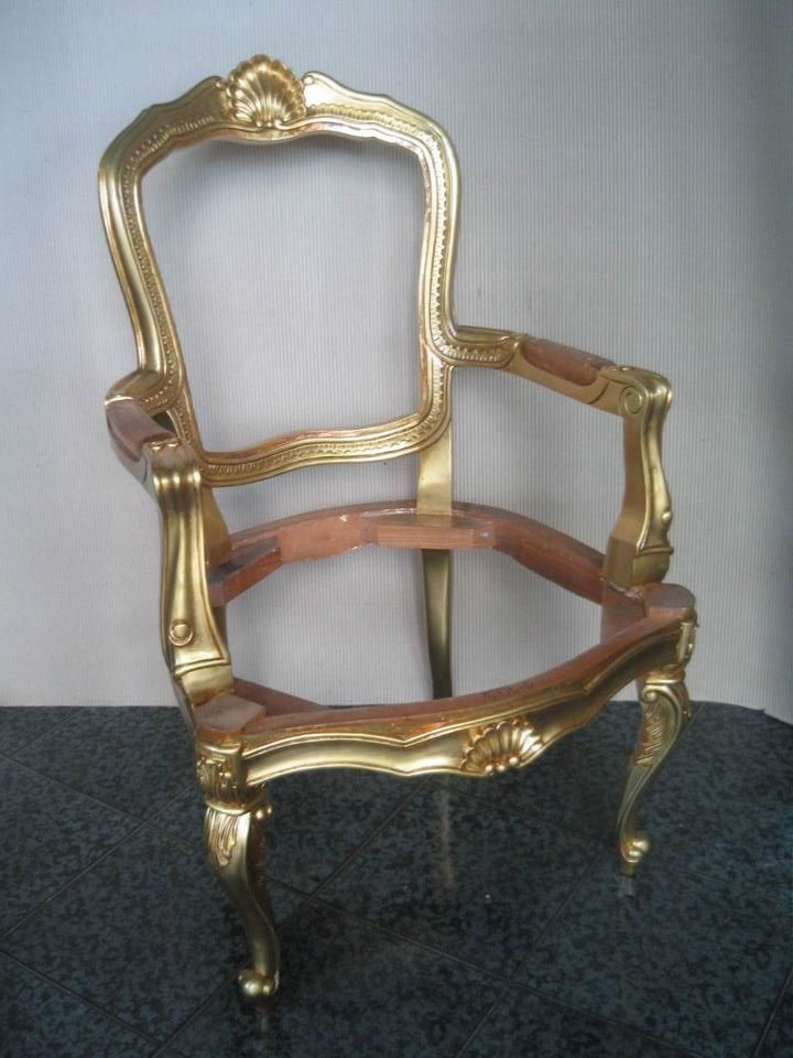 Crown carved arm chair finished in gold leaf painted ...