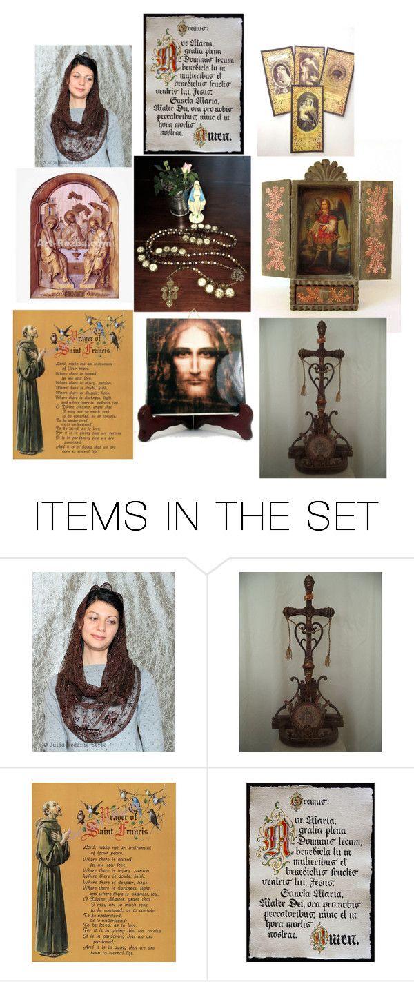 Religious Art on Etsy by 15Decades, Denise Maria Teresa - Set 7 by denise-maria-teresa on Polyvore featuring arte, etsy, art, catholic and religious
