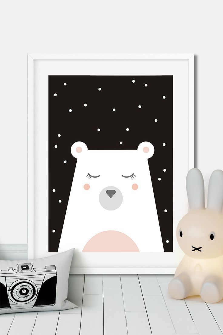 Affiche Noir Et Blanc Avec Couleur polar bear nursery print, black and white bear poster, black