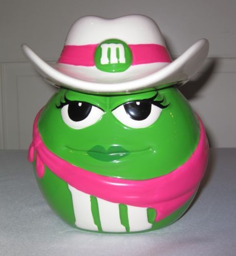 M&M's Green Cowboy Cowgirl Cookie Candy Jar M&M Girl Hat Storage