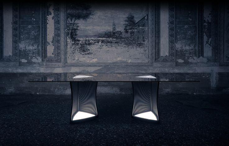 """Its unusual structure allows light to exalt any object positioned on it; even a banal bottle of water becomes something that attracts attention. The LED lights are positioned at floor level and immediately underneath the top, adding a weightless and functional dimension.""""Woofer"""" has the characteristic rectangular shape of the electronic box. """"Woofer"""" designed by Thesia Progetti for NATEVO #Lighting #LED #Lights #LEDlights #Inspiration #LEDs  #livingroom #ideas #homedecor #interiordesign"""
