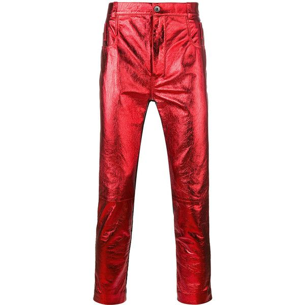 Haider Ackermann panelled skinny trousers (£1,930) ❤ liked on Polyvore featuring men's fashion, men's clothing, men's pants, men's casual pants, red, mens skinny pants, mens leather pants, mens red pants, mens skinny leather pants and mens red leather pants