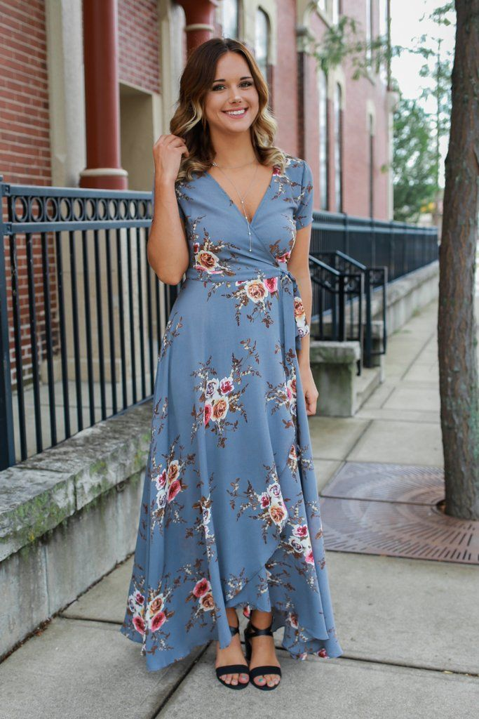 Floral Print Short Sleeve Tulip Hem Wrap Maxi Dress