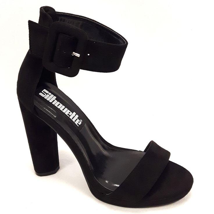 Open zwarte hoge hakken met brede band en kleine plateau koop je natuurlijk online bij schoenenwinkel Silhouette. De specialist in hoge hakken | Rotterdam