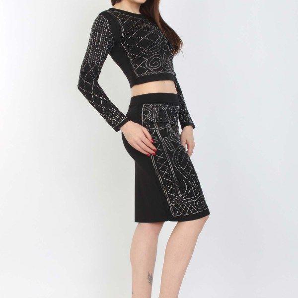Compleu fusta conica bluza scurta compleu fabricat din jerseu, cu mânecă lunga